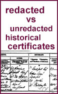 Link to redacted vs unredacted historical certificates